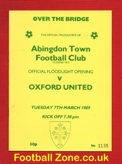 Abingdon Town v Oxford United 1989 - Floodlights Opening Match