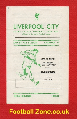 Liverpool City Rugby v Barrow 1965