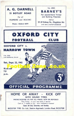 Oxford City v Harrow Town 1962