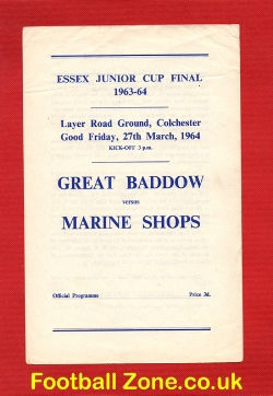 Great Baddow v Marine Shops 1964 - Essex Junior Cup Final