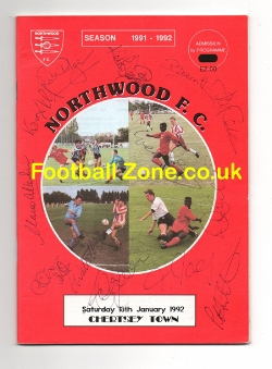 Northwood v Chertsey Town 1992 - Multi Autographed Signed