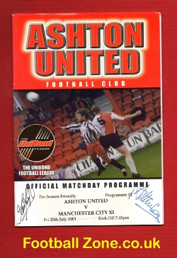 Ashton United v Man City 2001 - Pre Season - Signed