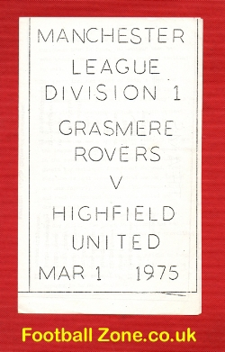 Grassmere Rovers v Highfield United 1975 - Manchester League