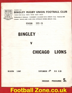 Bingley Rugby v Chicago Lions 1973