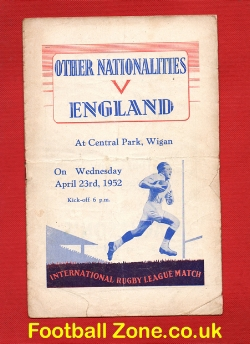 England Rugby v Other Nationalities 1952 - Central Park Wigan