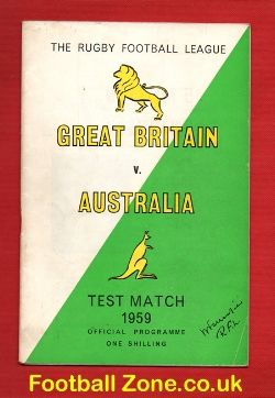 Great Britain Rugby v Australia 1959 - Test Match October