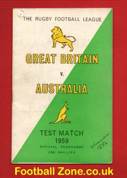 Great Britain Rugby v Australia 1959 - Test Match - December