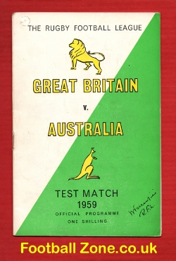 Great Britain Rugby v Australia 1959 - Test Match - November
