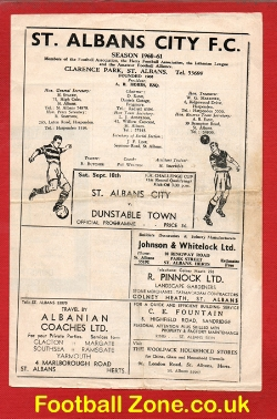 St Albans City v Dunstable Town 1960