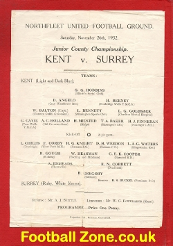 Kent v Surrey 1932 Junior County Championship at Northfleet Utd