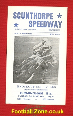Scunthorpe Speedway v Birmingham 1973 Knockout Cup