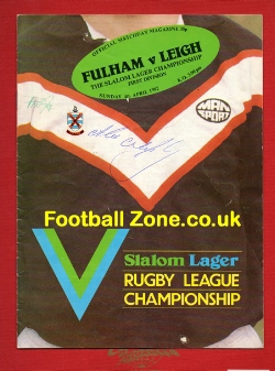 Fulham Rugby v Leigh 1982 - Multi Signed Autographs