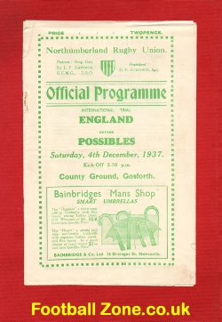 England Rugby v Possibles 1937 International Trial in North East