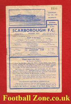 Scarborough v Billingham Synthonia 1949