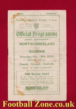 Northumberland v Durham 1933 - County Championship Rugby 1930s