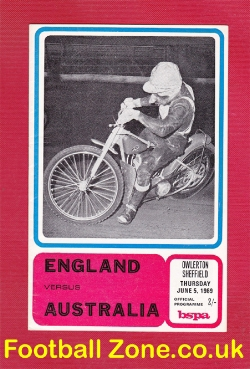 England Speedway v Australia 1969 - at Sheffield