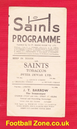 St Helens Rugby v Swinton 1949 - to clear