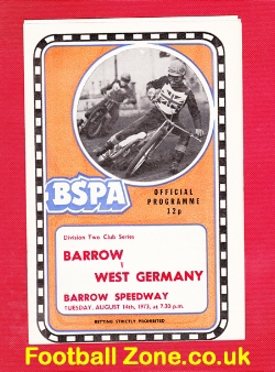 Barrow Speedway v West Germany 1973