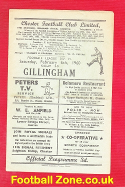 Chester City v Gillingham 1960