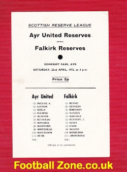 Ayr United v Falkirk 1972 - Reserves Match Somerset Park