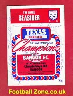 Bangor City v Cliftonville 1979 - Multi Autographed - Ireland