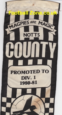 Notts County Football Pennant 1980 - 1981 Promotion