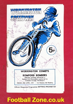 Workington Speedway v Romford 1971 - Signed Autographed