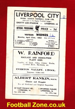 Liverpool City Rugby v Widnes 1962 - at Knotty Ash Stadium