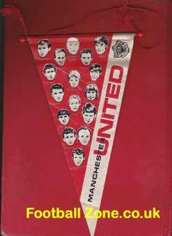 Manchester United Football Club Pennant Flag 1960s - Best + Law
