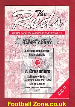 Cliftonville v Crusdaers 1995 - Multi Autographed