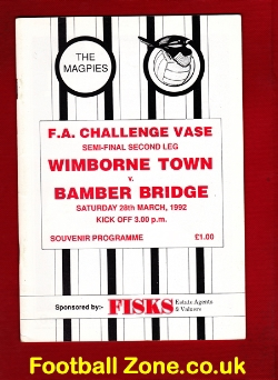 Wimborne Town v Bamber Bridge 1992 - Semi Final