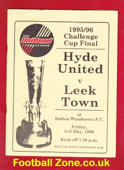 Hyde United v Leek Town 1996 - Cup Final Programme