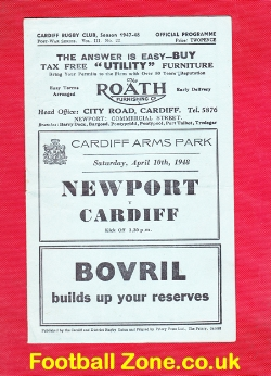 Newport Rugby v Cardiff 1948 - Cardiff Arms Park