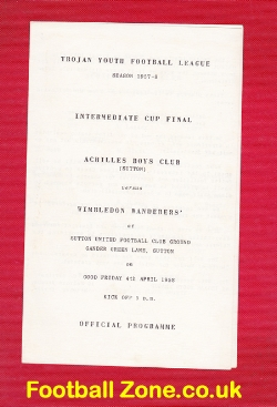 Achilles Boys Club v Wimbledon Wanderers 1958 - at Sutton