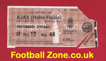 Ajax v Nottingham Forest 1980 - European Cup SF Ticket
