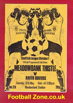 Meadowbank Thistle v Raith Rovers 1984 - Multi Autographed