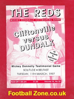 Mickey Donnelly Testimonial Benefit Match Cliftonville 1997