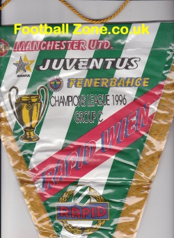 Manchester United Football Pennant 1996 Juve + Rapid Wien Fenerb