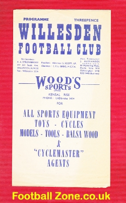 Willesden v Boreham Wood 1954 - Charity Cup