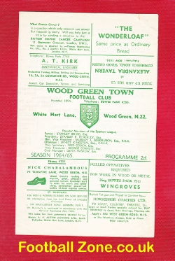 Wood Green Town v Kingsbury Town 1964