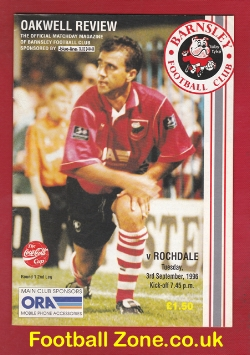 Barnsley v Rochdale 1996 - Multi Autographed Signed