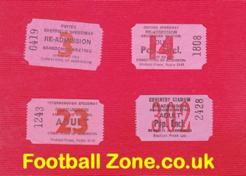 Old Speedway Tickets - Oxford - Peterborough - Coventry 1980s
