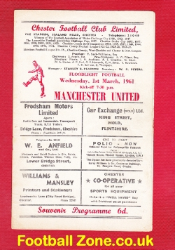 Chester City v Man Utd 1961 - Quite Rare Football Programme