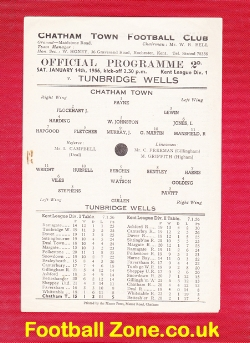 Chatham Town v Tunbridge Wells 1956 - Single Sheet