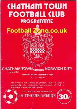 Chatham Town v Norwich City 1984 - Maidstone Road