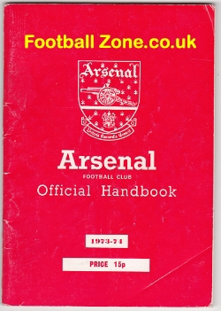 Arsenal Football Club Official Yearbook Handbook 1973 - 1974