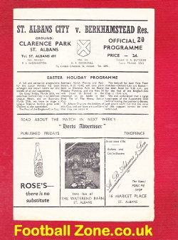 St Albans City v Berkhamstead Town 1947 - Reserves Match