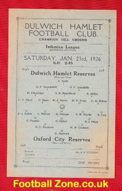 Dulwich Hamlet v Oxford City 1926 - Old Football Memorabilia