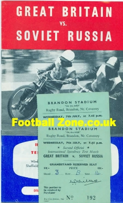 Great Britain Speedway v Russia 1965 + 2 X Tickets