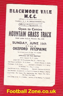 Grass Track Speedway Programme at Blackmore Vale 1950s